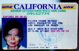 """张爱玲晚年在美国加利福尼亚州的长者卡,全名已改为""""爱玲·张·赖雅"""".jpg"""