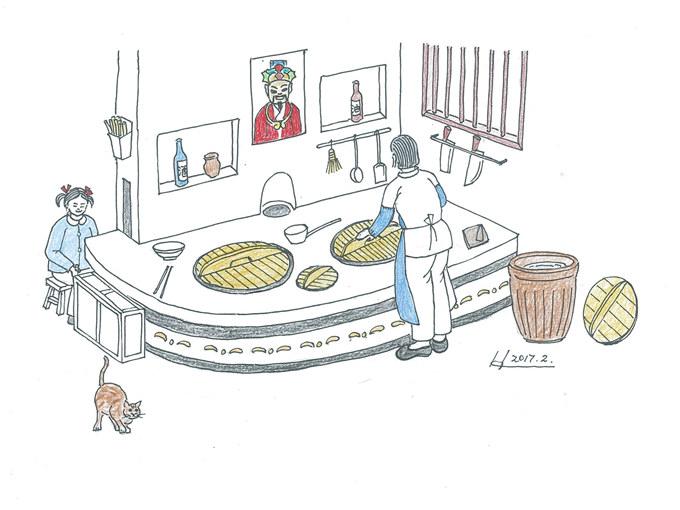 """发《上海纪实》""""西门,西门""""(三)配图2···炉膛燃起来,风箱拉起来,大灶头烧出来的饭菜就是香(乡村老屋灶头图   · 韩王荣 画).jpg"""
