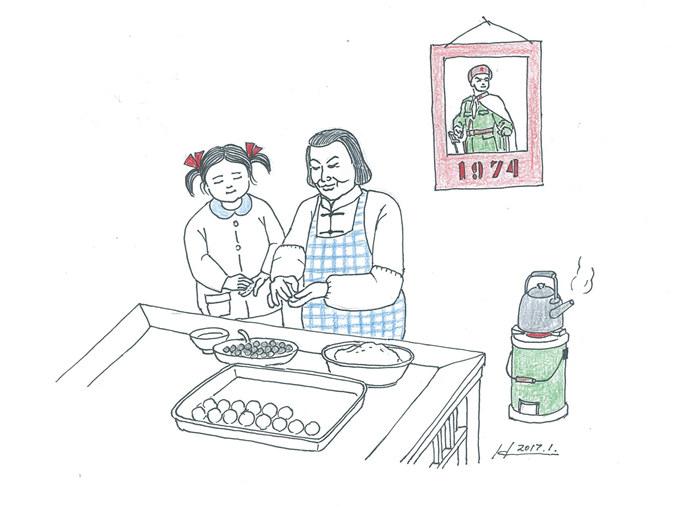 """发《上海纪实》""""西门,西门""""(三)配图4··和外婆一起包汤团(学做家务图 · 韩王荣 画).jpg"""